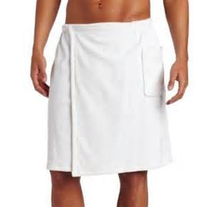 mens cotton terry bath wrap towel with velcro closure and