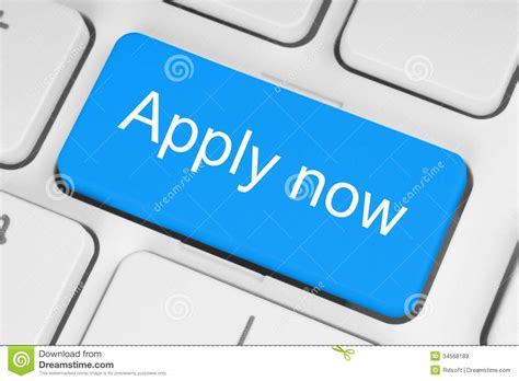 Blue Apply Now Button Stock Image. Image Of Computer