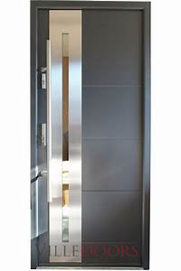 U0026quot New Yorker U0026quot  Stainless Steel Modern Entry Door With Glass
