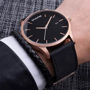 Classic Rose GoldBlack Leather MVMT Watches