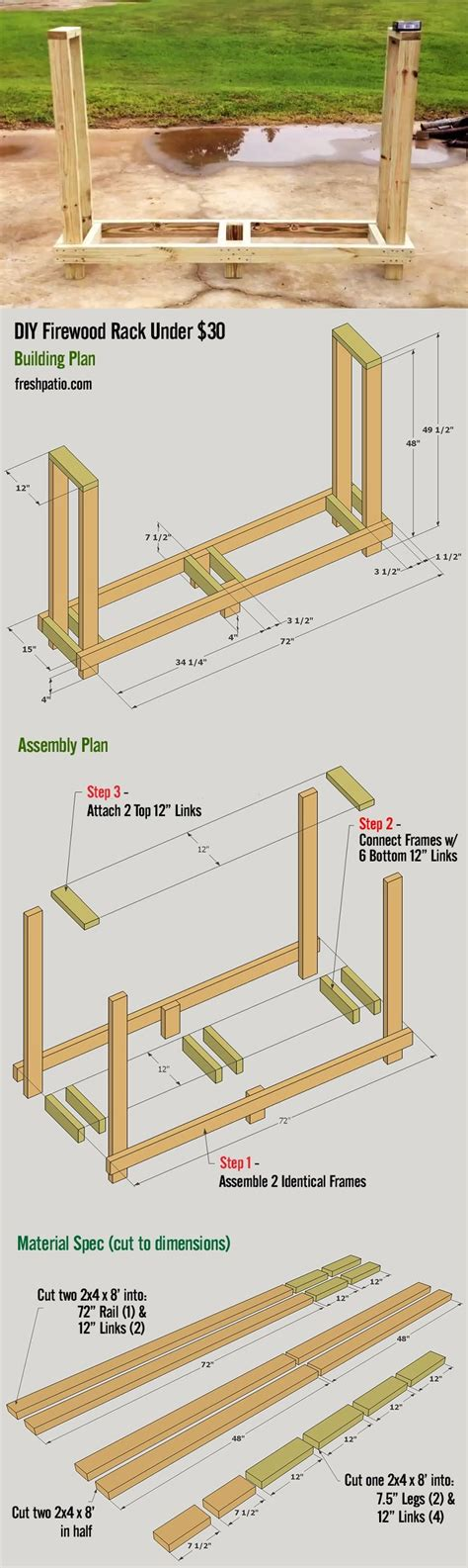 firewood rack plan easy  build    holds  rick  wood outdoor