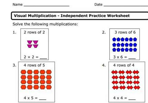 Visual Arrays And Multiplication Worksheet  Educational Resources And More