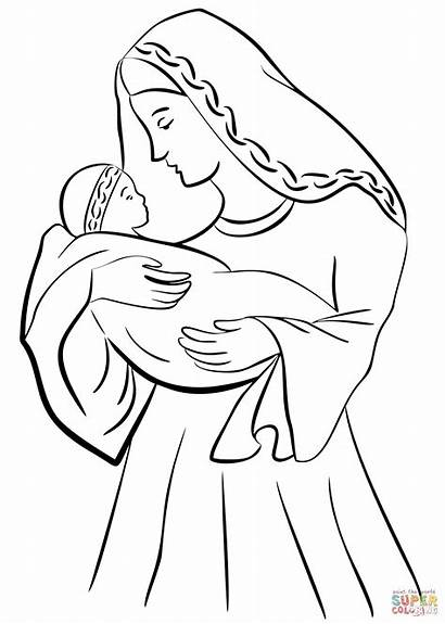 Jesus Mary Coloring Mother Drawing Pages Madonna