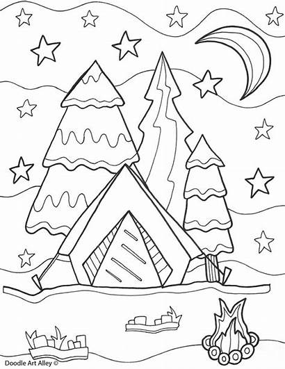 Doodle Coloring Pages Camping Summer Alley Reunion
