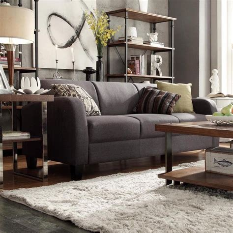 tribecca home clove dark grey linen contemporary sofa by