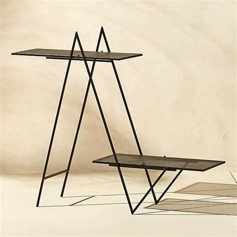 angled black outdoor plant stand cb