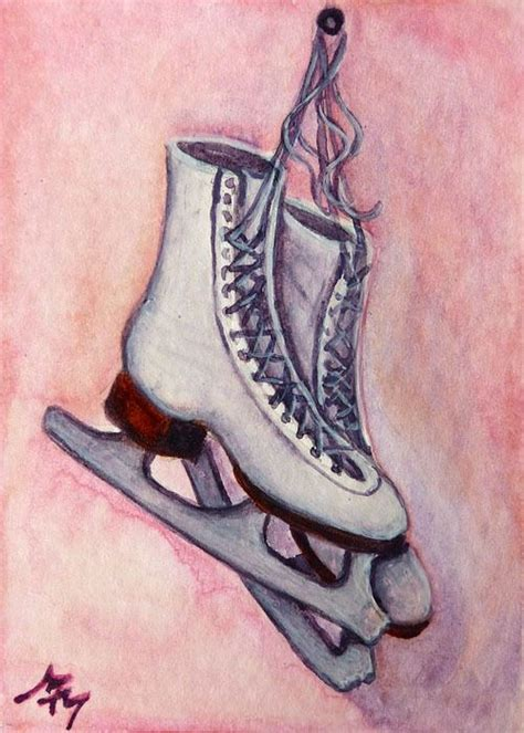 Original ACEO Watercolor Painting ICE SKATES Winter Figure ...