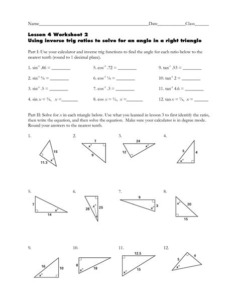 printables trig ratios worksheet messygracebook