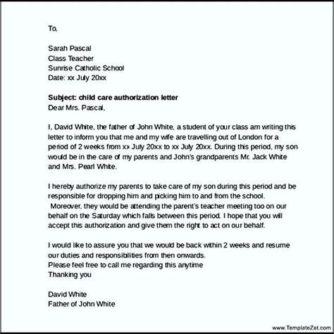 sample child care authorization letter templatezet