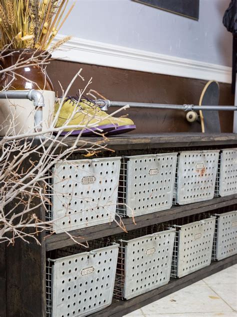 diy storage bench  rustic industrial style hgtv