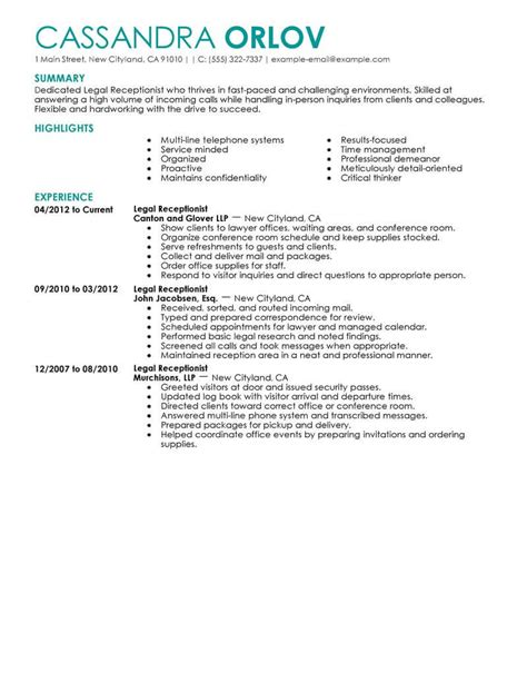 21733 resume exle for receptionist best receptionist resume exle livecareer