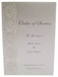 wedding reception order of service lace and order of service on