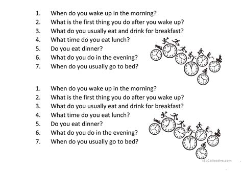 daily routine questions basic english esl worksheets