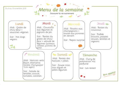menu semaine cuisine az menus de la semaine version végétale