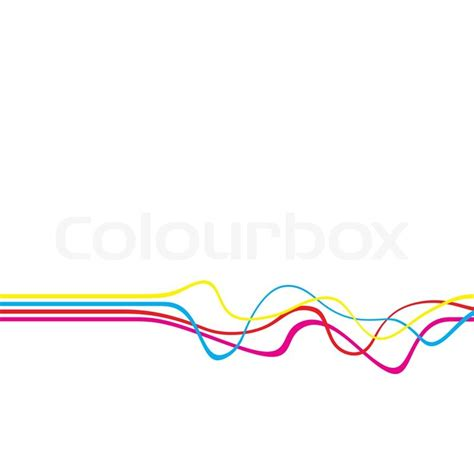 abstract layout with wavy lines in a cmyk color scheme