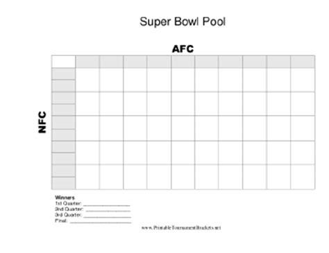 printable  square super bowl grid
