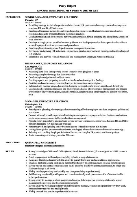 Employee Relations Resume by Manager Employee Relations Resume Sles Velvet