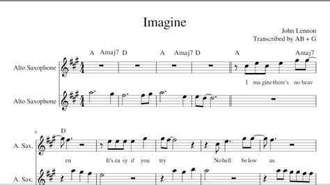 imagine john lennon alto sax duet sheet