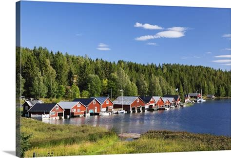 Boathouse At The High Coast, Sweden Photo Canvas Print