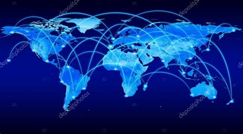 blue world map  flight connections stock photo