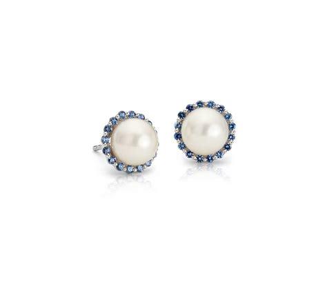 sapphire  freshwater cultured pearl halo stud earrings