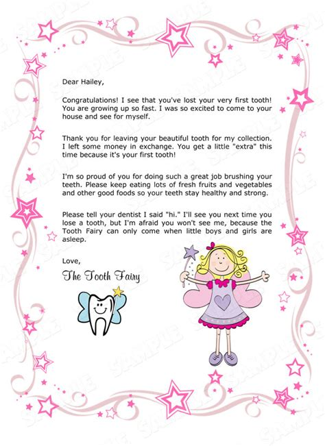 tooth fairy letter  childs st missing tooth girl
