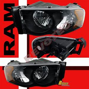 02 03 04 05 Dodge Ram 1500 2500 3500 Pickup Black Headlights   Led Tail Lights