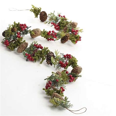 pinecone berry and moss garland christmas garlands