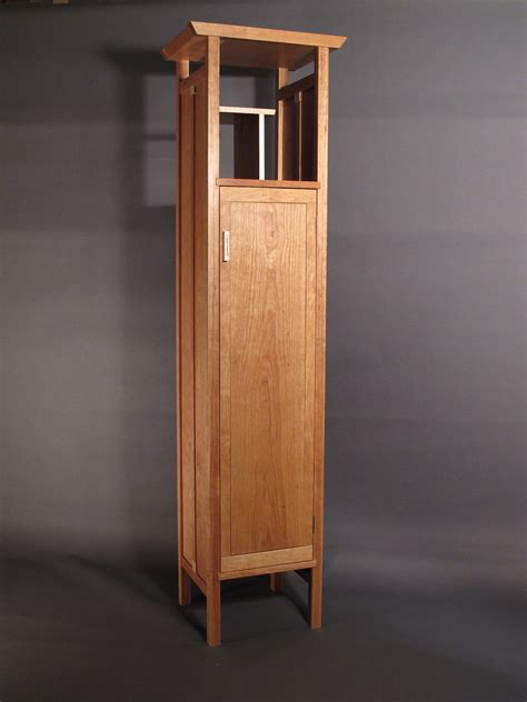 Furniture Natural Wood Tall Narrow Storage Cabinet With