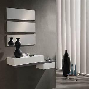 meuble d39entree blanc et gris moderne tryo design With comment meubler une entree 4 meuble dentree moderne avec 2 miroirs