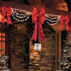 Clearance Outdoor Lighted Porch Eave Christmas Bow & Swag