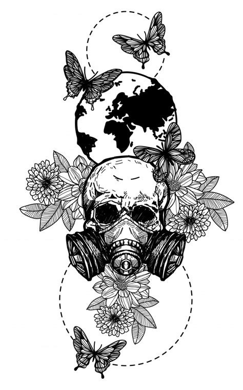 Tattoo art skull flowers hand drawing black and white | Premium Vector
