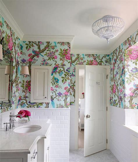 papier peint cuisine chantemur floral royal bathroom wallpaper ideas on small white