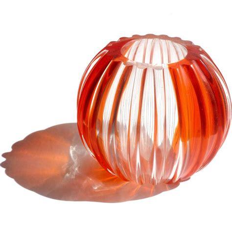 Orange Vases And Bowls by Fratelli Toso Murano Orange Stripes Italian Glass