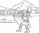 Hood Arrow Medieval Coloring Pages Robin Dark Bow Hunting Drawing Printable Print Ages Warrior Vikings Teenagers Templates Template Dear Weapon sketch template