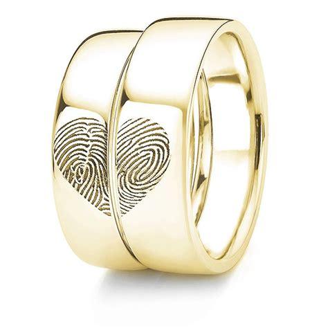 heart patterned fingerprint wedding ring