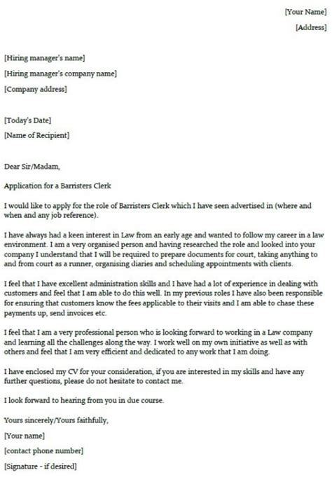 It Cover Letter Exles by Barristers Clerk Cover Letter Exle Lettercv