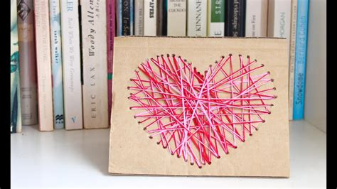 easy homemade card idea     yarn heart card
