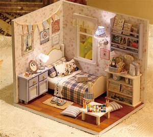 Items similar to Light up Dollhouse Miniature Bedroom