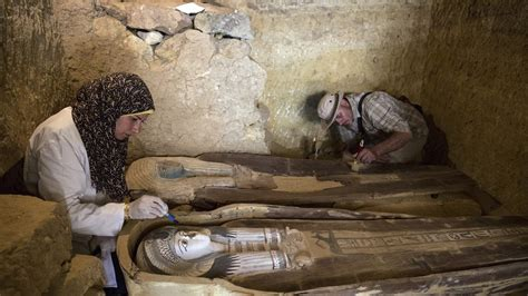 preserved statues coffins  ancient egypt big