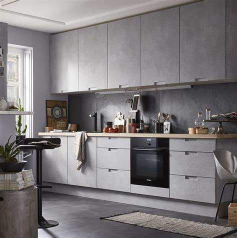 cuisine moderne effet beton gris equipée modèle delinia