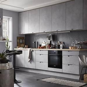 Beton Cire Berlin : cuisine moderne effet beton gris equip e mod le delinia ~ Lizthompson.info Haus und Dekorationen
