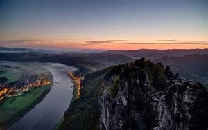 Nature, Landscape, Water, Rock, Mountain, Trees, Forest, River, Town, Mist, Sunset, Moon