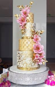 gold wedding cake pink week gold pink
