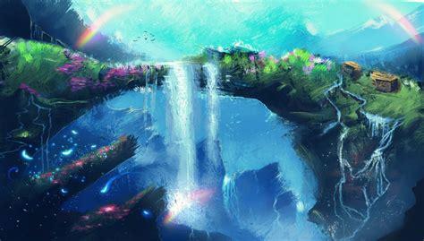 art fantasy waterfall flower rainbow birds hd wallpaper