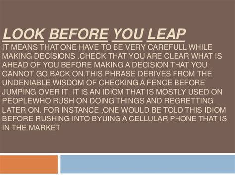 look before you leap essay | Infoletter.co