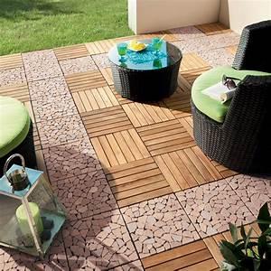 Caillebotis Pour Terrasse : dalle clipsable snap and go en bois teck miel l 30 x l 30 ~ Premium-room.com Idées de Décoration