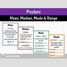 Mean, Median, Mode And Range Posters By Operationmaths  Teaching Resources