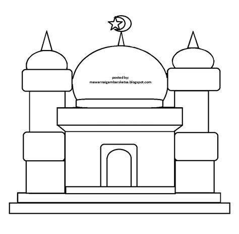 mewarnai gambar mewarnai gambar sketsa masjid 17