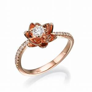 flower engagement ring rose gold with diamonds flower With diamond flower wedding ring